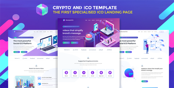 ico crypto bitcoin & cryptocurrency landing page html template nulled