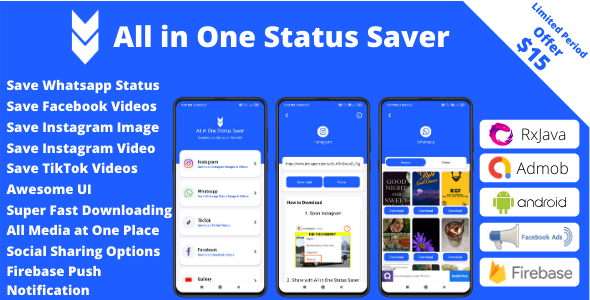 [Free Download] All in One Status Saver – Whatsapp, Facebook, Instagram, TikTok + Admob & Facebook Ads (Nulled) [Latest Version]