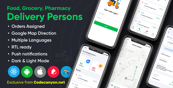 [Free Download] Delivery Person for Food, Grocery, Pharmacy, Stores React Native – WordPress Woocommerce App (Nulled) [Latest Version]