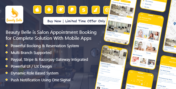 [Free Download] Salon & Spa Appointment Booking App For Android – iOS App with admin panel – Beauty Belle (Nulled) [Latest Version]