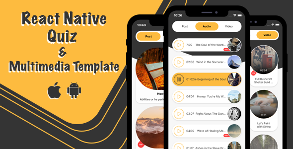 [Free Download] React Native Quiz And Multimedia Template (Nulled) [Latest Version]
