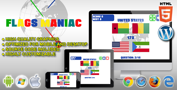 [Free Download] Flags Maniac – HTML5 Quiz Game (Nulled) [Latest Version]