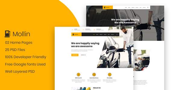 [Free Download] Mollin – GAS Station & Petrol Pump Business PSD Template (Nulled) [Latest Version]