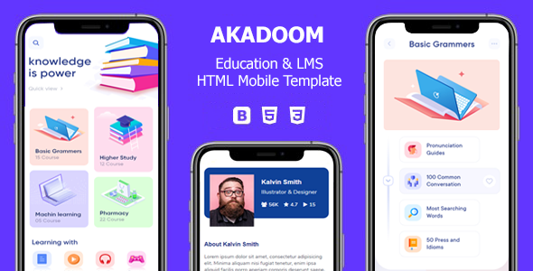 [Free Download] Akadoom – Education & Online Courses Mobile Template (Nulled) [Latest Version]