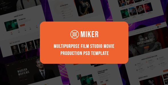 [Free Download] Miker – Multipurpose Film Studio Movie Production PSD Template (Nulled) [Latest Version]