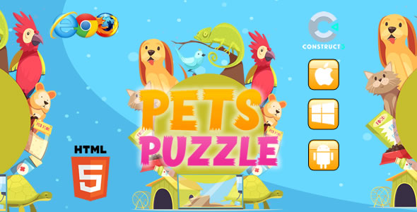 [Free Download] Pets Puzzle HTML5 Game – Construct 3 (c3p) (Nulled) [Latest Version]