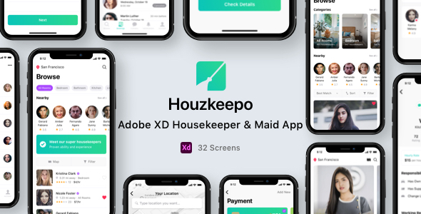 [Free Download] Houzkeepo – Adobe XD Housekeeper & Maid App (Nulled) [Latest Version]
