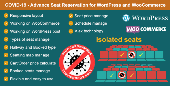 [Free Download] Covid-19 – Seat Reservation Management for WordPress and WooCommerce (Nulled) [Latest Version]