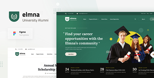 [Free Download] Elmna – University Alumni Website Design UI Template Figma (Nulled) [Latest Version]