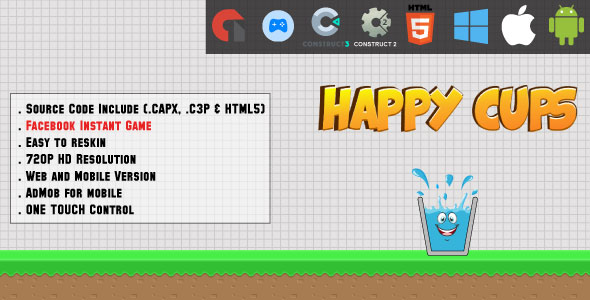 [Free Download] Happy Cups – HTML5 Game – Web & Mobile + AdMob (CAPX, C3p and HTML5) (Nulled) [Latest Version]