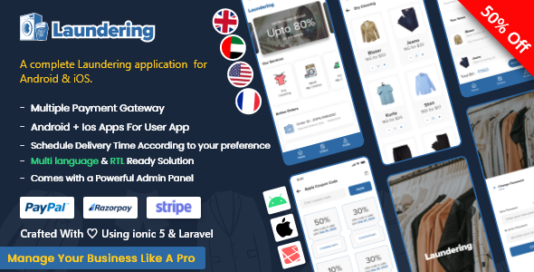 [Free Download] Laundry Android App + Laundry iOS App | Ionic 5 | Full Solution (Nulled) [Latest Version]