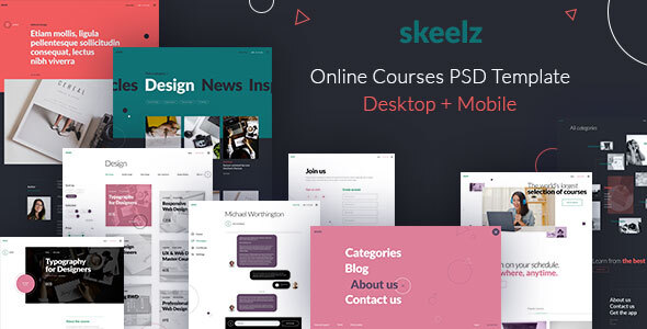 [Free Download] Skeelz – Online Courses Service – PSD Template (Nulled) [Latest Version]