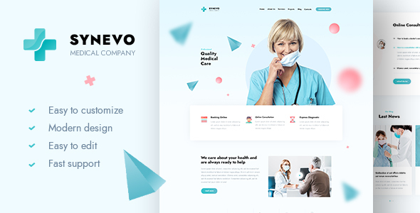 [Free Download] Synevo – Medical Landing Page (Nulled) [Latest Version]