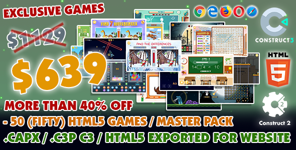 [Free Download] Game Bundle #11 – 50 (Fifty) HTML5 Games – Master Pack (Construct 2 / 3 all source-code) (Nulled) [Latest Version]