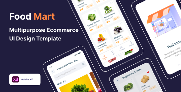 [Free Download] Food Mart – Multipurpose Ecommerce UI Design Template (Nulled) [Latest Version]