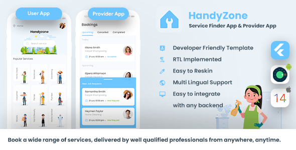 [Free Download] Home Service Finder   Provider   Booking Android + iOS App Template   2 Apps   FLUTTER Handyzone (Nulled) [Latest Version]