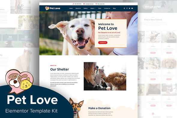 [Free Download] Pet Love – Animal Shelter Elementor Template Kit (Nulled) [Latest Version]