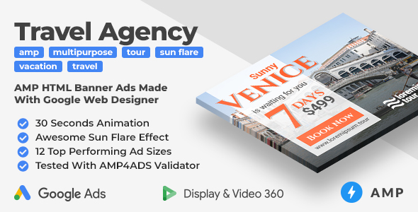 [Free Download] Sunny – Multipurpose Travel Agency Animated AMP Banner Ad Templates (GWD, AMP) (Nulled) [Latest Version]
