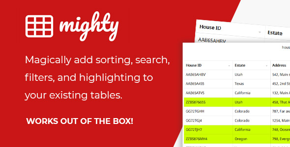 [Free Download] Mighty Tables | Add sorting, search, filters, and highlighting to your tables (Nulled) [Latest Version]