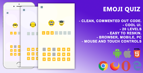 [Free Download] Emoji Quiz. Mobile, Html5 Game .c3p (Construct 3) (Nulled) [Latest Version]