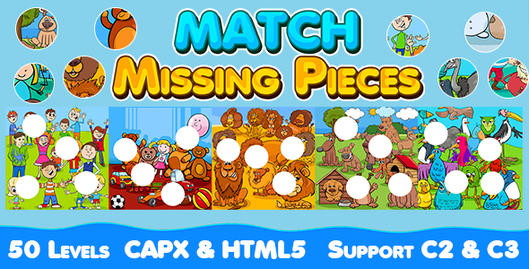 [Free Download] Match Missing Pieces Game (CAPX and HTML5) Kids Learning Game with 50 Levels (Nulled) [Latest Version]