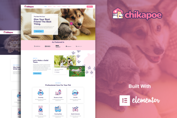 [Free Download] Chikapoe – Pet Care & Veterinary Elementor Template Kit (Nulled) [Latest Version]