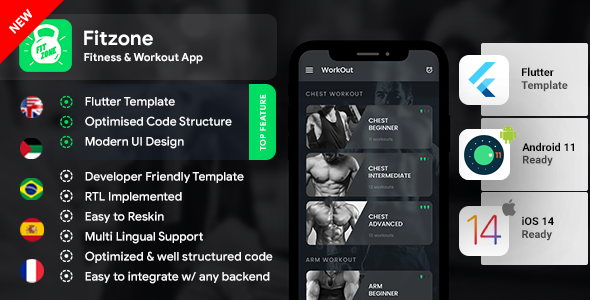 [Free Download] Home Workout Fitness Android App Template + iOS App Template | Fitzone app | Flutter (Nulled) [Latest Version]