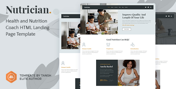 [Free Download] Nutrician – Health and Nutrition Coach Feminine HTML Landing Page Template (Nulled) [Latest Version]