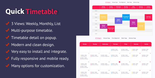[Free Download] Quick Timetable For WordPress (Nulled) [Latest Version]