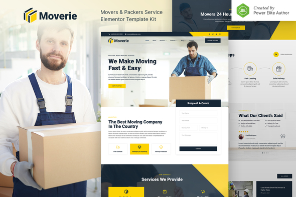 [Free Download] Moverie – Movers & Packers Service Elementor Template Kit (Nulled) [Latest Version]