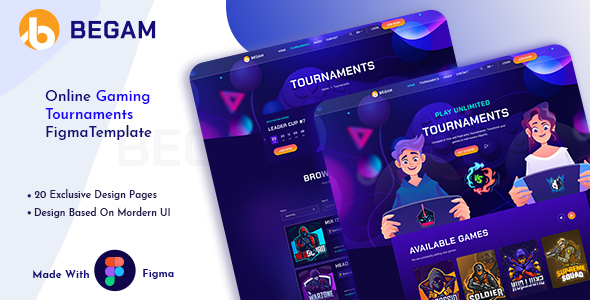 [Free Download] Begam – Online Gaming Tournaments Figma Template (Nulled) [Latest Version]