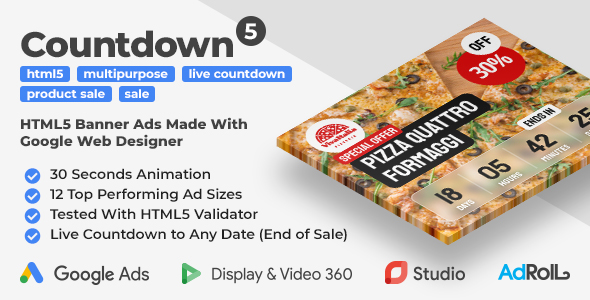 [Free Download] Countdown 5 – Product Sale HTML5 Banner Ad Templates with Live Countdown (GWD, jQuery) (Nulled) [Latest Version]