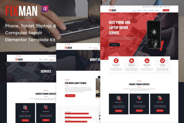 [Free Download] Fixman – Smartphone & Laptop PC Repair Elementor Kit (Nulled) [Latest Version]