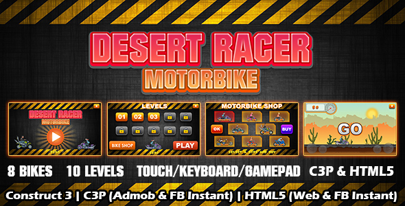 [Free Download] Desert Racer Motorbike Racing Game (Construct 3 | C3P | HTML5) Admob and FB Instant Ready (Nulled) [Latest Version]