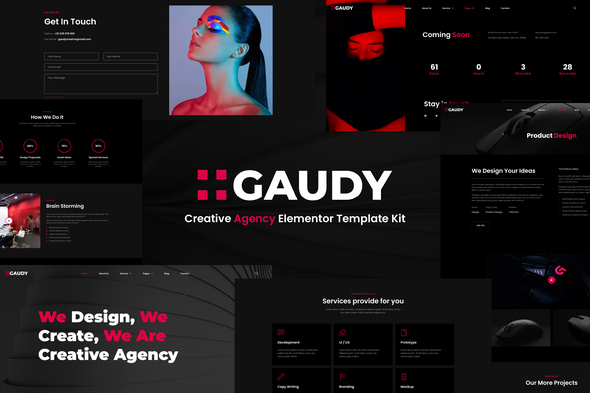 [Free Download] Gaudy – Dark Digital Agency Elementor Template Kit (Nulled) [Latest Version]
