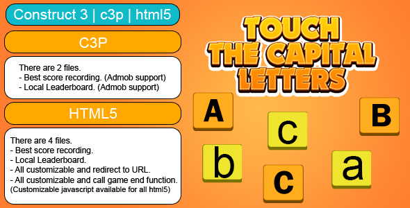 [Free Download] Touch The Capital Letters Game (Construct 3 | C3P | HTML5) Customizable and All Platforms Supported (Nulled) [Latest Version]