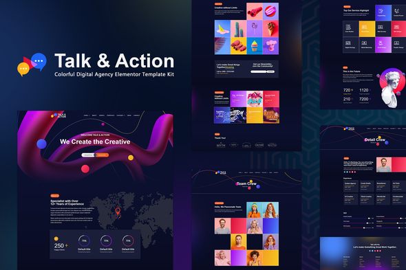 [Free Download] Talk & Action – Colorful Digital Agency Elementor Template Kit (Nulled) [Latest Version]