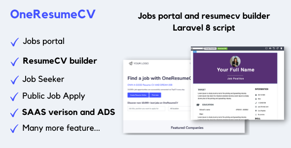 [Free Download] OneResumeCV – Jobs board and resume builder (Nulled) [Latest Version]
