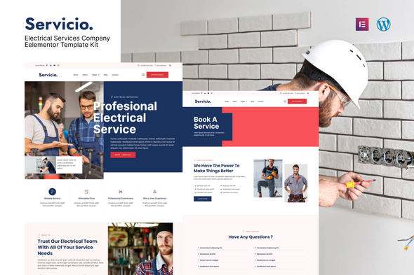 [Free Download] Servicio – Electrician & Electrical Services Template Kit (Nulled) [Latest Version]