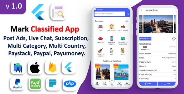 [Free Download] Mark Classified App | Classified App | Multi Payment Gateways Integrated | Buy & Sell | Subscription (Nulled) [Latest Version]