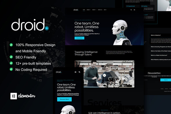 [Free Download] Droid – Robotics & Technology Services Elementor Template Kit (Nulled) [Latest Version]