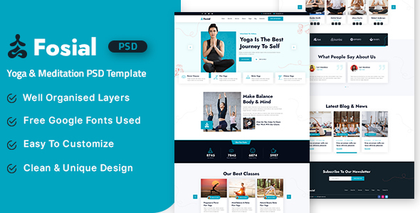 [Free Download] Fosial – Yoga & Meditation PSD Template (Nulled) [Latest Version]