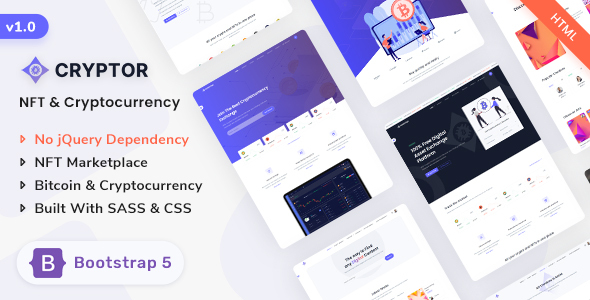 [Free Download] Cryptor – NFT Marketplace & Cryptocurrency ICO Landing Template (Nulled) [Latest Version]