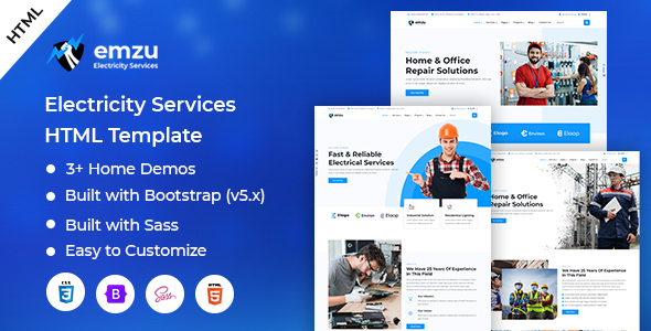 [Free Download] Emzu – Electricity Services HTML Template (Nulled) [Latest Version]