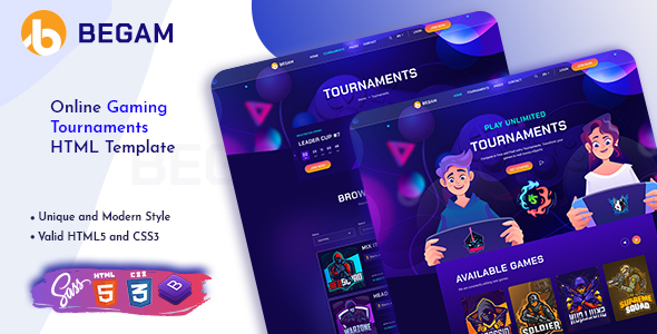 [Free Download] Begam – Online Gaming Tournaments HTML Template (Nulled) [Latest Version]