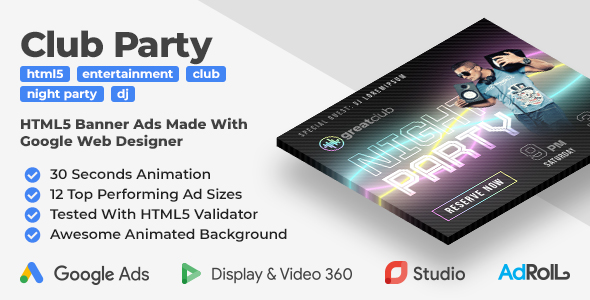 [Free Download] Greatclub – Club Party Animated HTML5 Banners (GWD) (Nulled) [Latest Version]