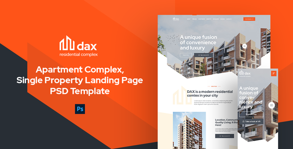 [Free Download] DAX – Apartment Complex, Single Property Landing Page PSD Template (Nulled) [Latest Version]