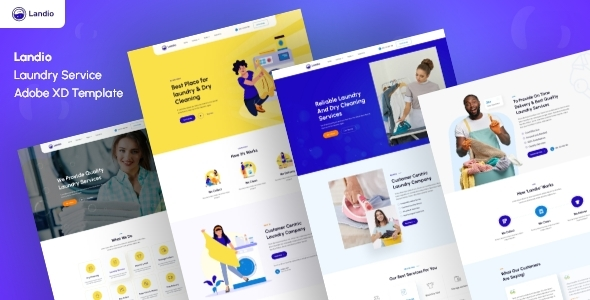 [Free Download] Landio- Laundry Services Adobe XD Template (Nulled) [Latest Version]