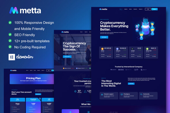 [Free Download] Metta – Cryptocurrency Blockchain & Bitcoin Elementor Template Kit (Nulled) [Latest Version]