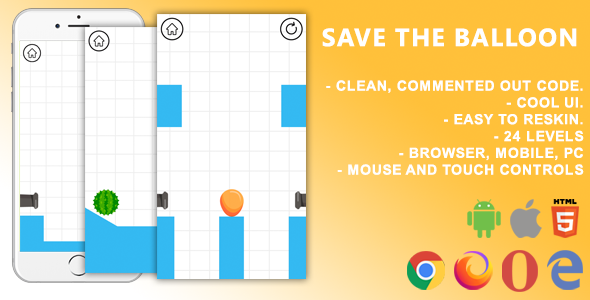 [Free Download] Save The Balloon. Mobile, Html5 Game .c3p (Construct 3) (Nulled) [Latest Version]